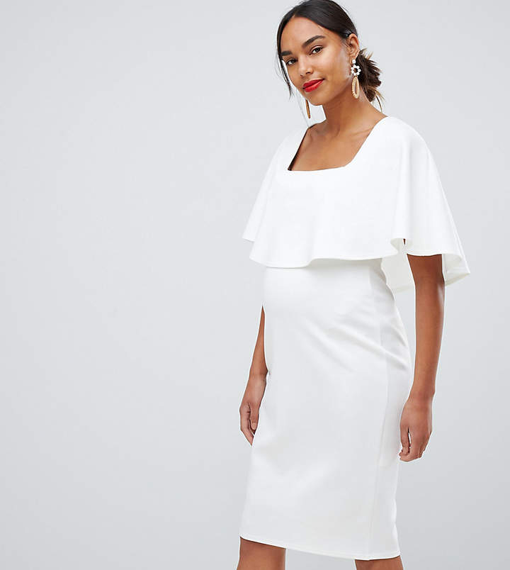 ASOS Maternity ASOS DESIGN Maternity midi dress with double layer and square neck