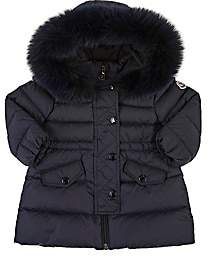 Moncler Infants' Essentiel Fur-Trimmed Down-Quilted Coat - Navy