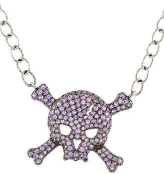Loree Rodkin 18K Sapphire Skull & Crossbone Pendant Necklace