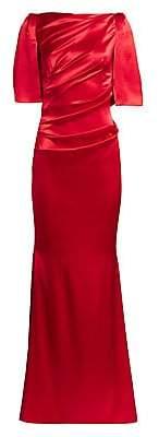 Talbot Runhof Women's Wrapped Satin Cape-Sleeve Gown