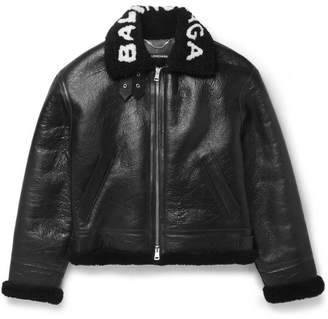 Balenciaga Printed Shearling Bomber Jacket - Black