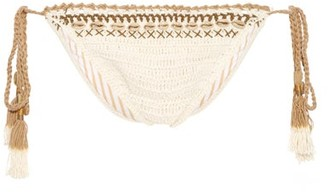 She Made Me Mihira Embellished Tie Side Crochet Bikini Briefs - Womens - Cream Multi