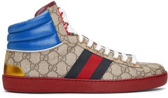 Gucci Beige GG Ace High-Top Sneakers