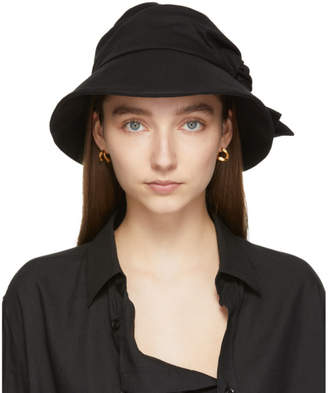 Y's Ys Black Cotton and Linen Knot Hat