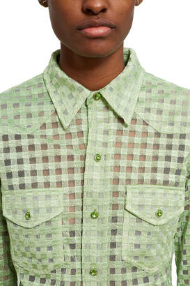 Adam Selman Gingham Sheer Tulle Shirt