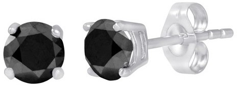 Black Diamond 2 CT.T.W. Stud Earrings in 10K White Gold