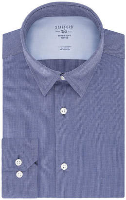 STAFFORD Stafford Stay Put Mens Spread Collar Long Sleeve Stretch Dress Shirt - Fitted
