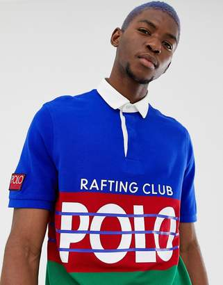 6b0dcfce3 Polo Ralph Lauren Hi Tech Capsule classic over sized fit colour block pique  polo in blue