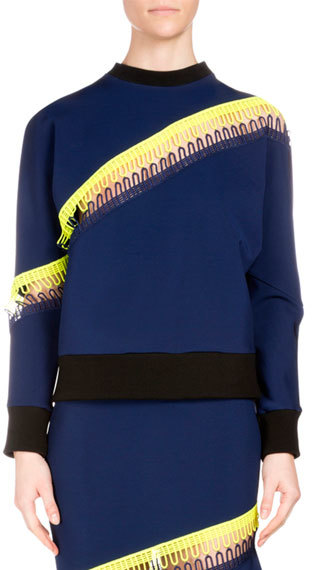 Christopher KaneChristopher Kane Crewneck Sweater w/Neon Stripe Detail, Navy