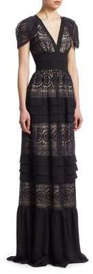 ML Monique Lhuillier V-Neck Lace Floor-Length Gown