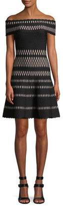 Herve Leger Off-the-Shoulder Wavy Jacquard Cocktail Dress