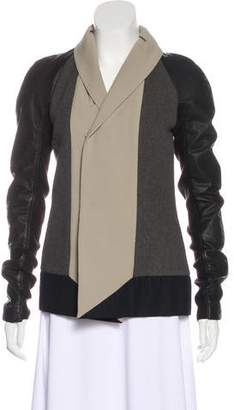 Rick Owens Wool Leather-Accented Jacket