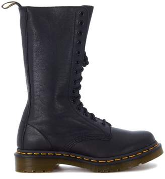 Dr. Martens 1b99 Virginia Black Leather Ankle Boots 14 Eyelets