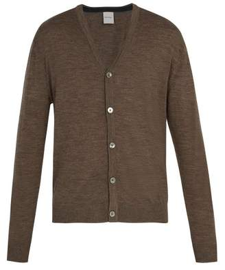 Paul Smith - Long Sleeved Merino Wool Cardigan - Mens - Light Brown