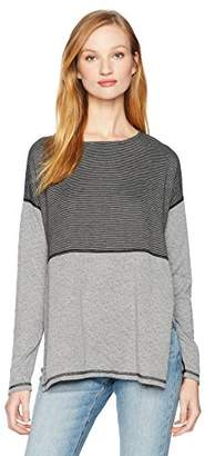 Three Dots Women's Reversible Stripe l/s Tee Long Loose Shirt