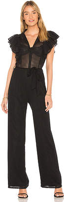 Nightcap Clothing Pin Striped Ruffle Jumpsuit