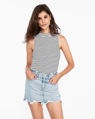 Express Mid Rise Classic Straight Destroyed Denim Mini Skirt