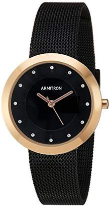 Swarovski Armitron Women's 75/5454BKRG Crystal Accented Rose Gold-Tone and Black Mesh Bracelet Watch