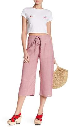 Honey Punch Gingham Lace-Up Capri Pants