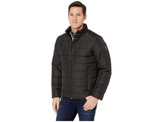 Kenneth Cole New York Poly Oxford Puffer w/ Stand Collar Men's Clothing