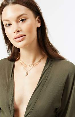 LA Hearts Rose Layered Choker Necklace
