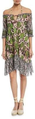 Fuzzi Off-the-Shoulder Mixed-Print Coverup Dress
