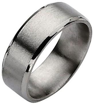 Titanium Beveled Edge 8mm Satin and Polished Ring