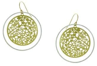 Takobia Two-Tone Domed Filigree Disc & Hoop Dangle Earrings