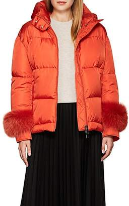Moncler Women's Effraie Fur-Cuff Down-Quilted Puffer Jacket - Orange
