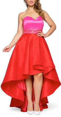 Mac Duggal Strapless Colorblock High-Low Gown w/ Embellished Waist, Plus Size