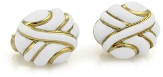 18K Yellow Gold with White Enamel Fancy Post Clip Earrings