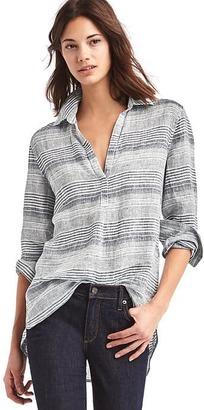 Linen stripe popover tunic $59.95 thestylecure.com