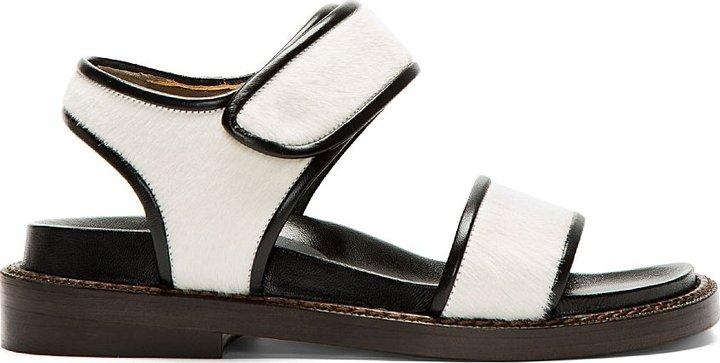 Marni White Calf-Hair Sandals