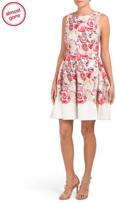 Taylor Floral Scuba Pleat Fit Flare Dress