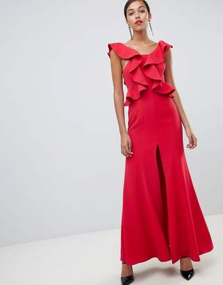 C/Meo Collective Structured Ruffle Maxi Gown