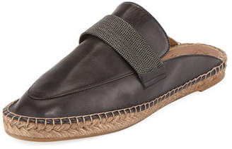 Brunello Cucinelli Leather Espadrille with Monili Keeper