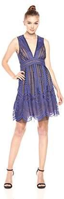 BCBGMAXAZRIA Azria Women's Kellyn V-Neck Illusion Knit Evening Dress