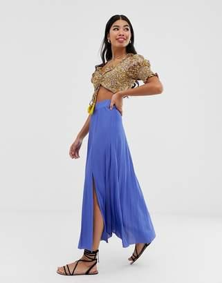 Asos Design DESIGN column pleated city maxi skirt