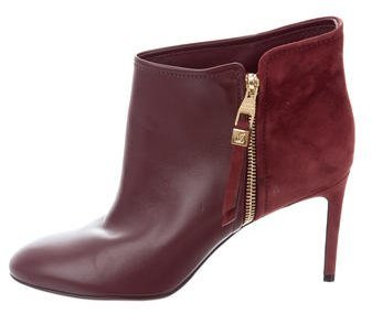 Louis Vuitton Suede Round-Toe Booties