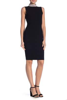 Milly Embellished Neck Bodycon Dress