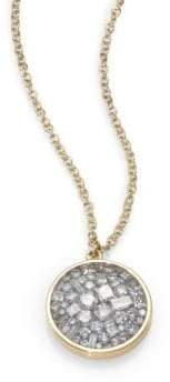 Ice Diamond Pleve Ice Diamond& 18K Yellow Gold Pendant Necklace
