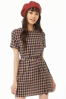 Forever 21 Belted Plaid Dress