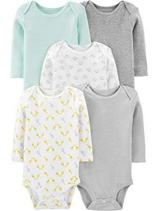 Carter's Simple Joys by Baby 5-Pack Neutral Long-Sleeve Bodysuit
