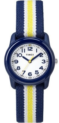 Timex Boys Time Machines Navy/Yellow Stripe Watch, Elastic Fabric Strap
