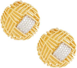 Roberto Coin 18k Two-Tone Barocco Diamond Button Earrings