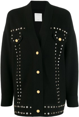 Sandro Paris oversized eyelet-embellished cardigan