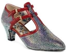 Gucci Crystal Mid-Heel T-Strap Pumps
