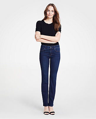 808868c461 Ann Taylor Petite Performance Stretch Boot Cut Jeans in Classic Mid Indigo  Wash