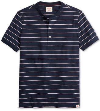 Brooks Brothers Men Red Fleece Garment-Dyed Stripe Henley