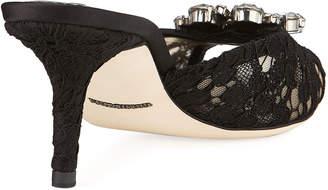 Dolce & Gabbana Keria Jeweled Lace Low-Heel Slide Sandals, Black